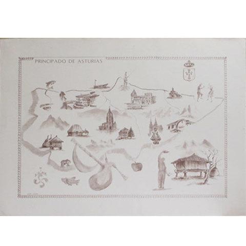 Artesania Asturiana -  Mapa carboncillo Asturias con motivos tradicionales  - Editorial Picu Urriellu