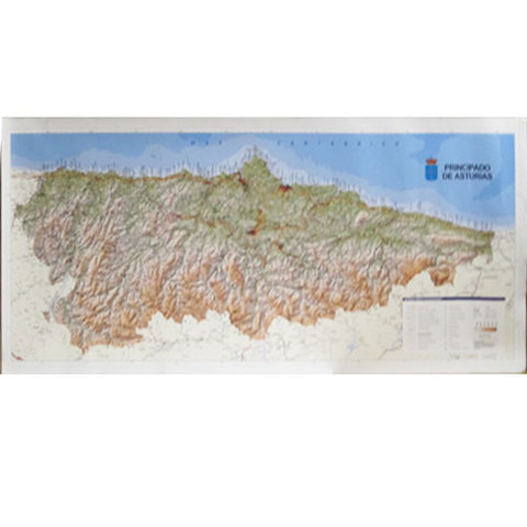 Artesania Asturiana -  Mapa topografico grande Asturias  - Editorial Picu Urriellu