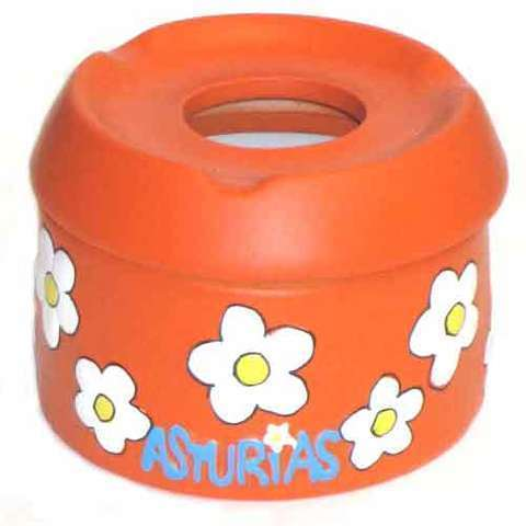 Artesania Asturiana -  Cenicero agua con asturias naranja - Editorial Picu Urriellu
