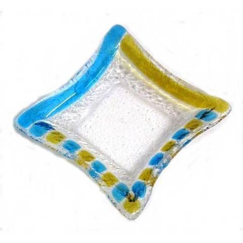 Artesania Asturiana -  Ceniceros pequeño - azul y amarillo - Editorial Picu Urriellu