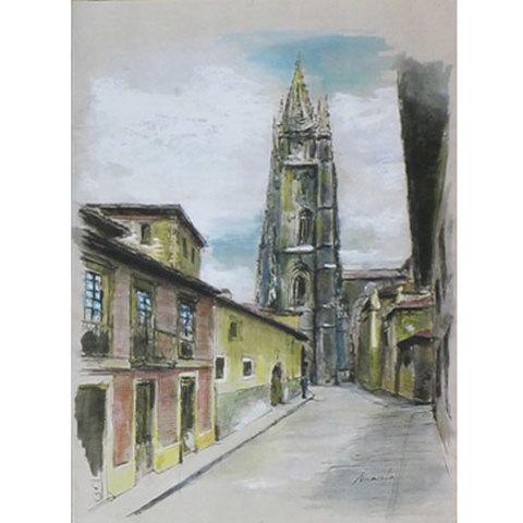 Artesania Asturiana - Catedral Oviedo litografia - pastel y acuarela - Editorial Picu Urriellu