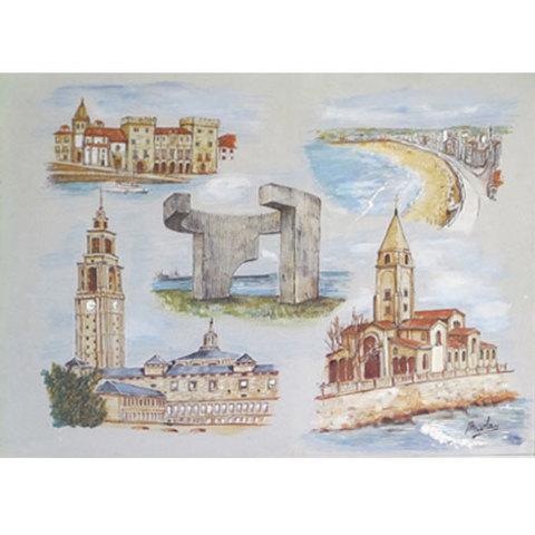 Artesania Asturiana - Gijon litografias pastel y acuarela - Editorial Picu Urriellu