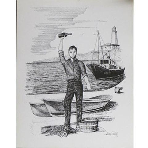 Artesania Asturiana -  Plumillas litografia - escanciador y barco  - Editorial Picu Urriellu