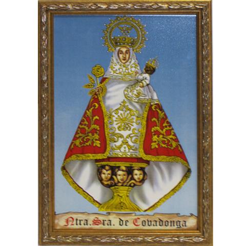 Artesania Asturiana - Azulejo Virgen Covadonga ( marco azul ) - Editorial Picu Urriellu