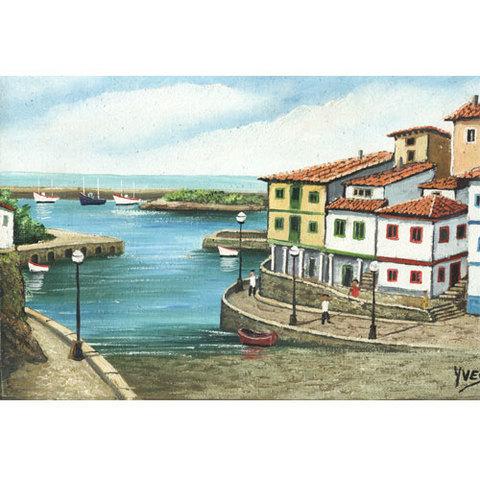 Artesania Asturiana - Oleos originales Cudillero mediano - Ives - Editorial Picu Urriellu