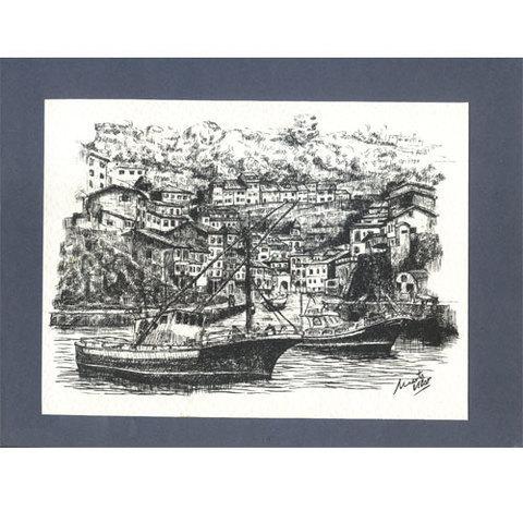 Artesania Asturiana - Plumilla puerto de Cudillero con cartoncillo - Editorial Picu Urriellu