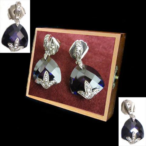 Artesania Asturiana - Pendientes piedras naturales color violeta con circonitas - Editorial Picu Urriellu