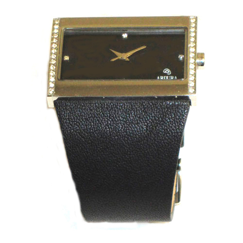 Artesania Asturiana - Reloj con circonitas - pulsera de piel - Editorial Picu Urriellu
