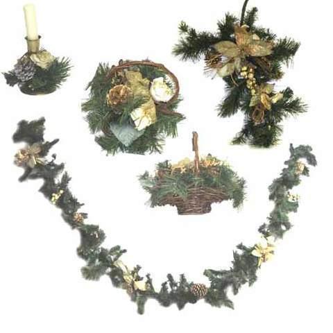 Artesania Asturiana - Decoración de navidad -Pino rustico motivos en dorado - Editorial Picu Urriellu