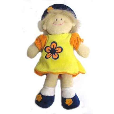 Artesania Asturiana - Muñeca flor infantil - vestido amarillo - Editorial Picu Urriellu