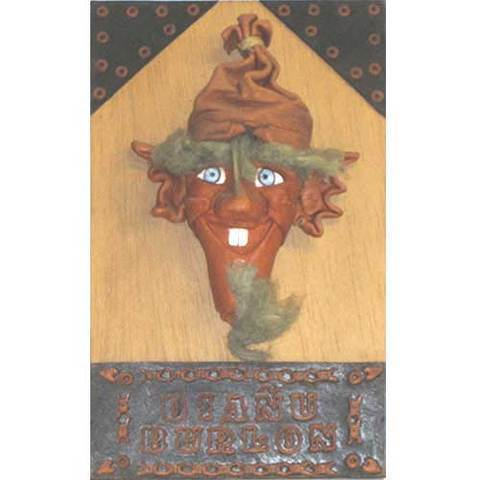 Artesania Asturiana - Mascara cuero diañu burlon - Editorial Picu Urriellu