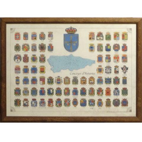 Artesania Asturiana - Cuadro escudo de los concejos asturianos - Editorial Picu Urriellu