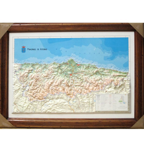 Artesania Asturiana - Cuadro mapa de Asturias relieve  ( marco madera) - Editorial Picu Urriellu