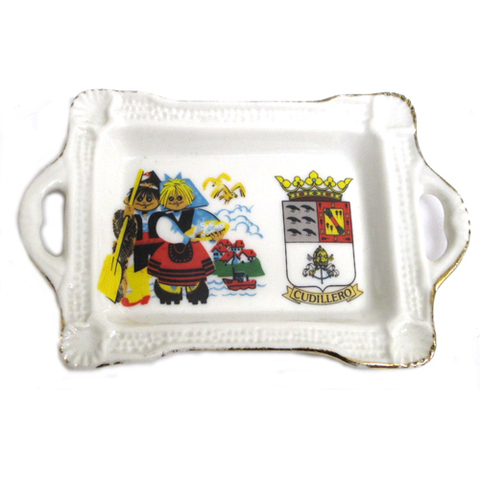Artesania Asturiana - Bandeja pequeña dos asas - pareja con escudo - Editorial Picu Urriellu