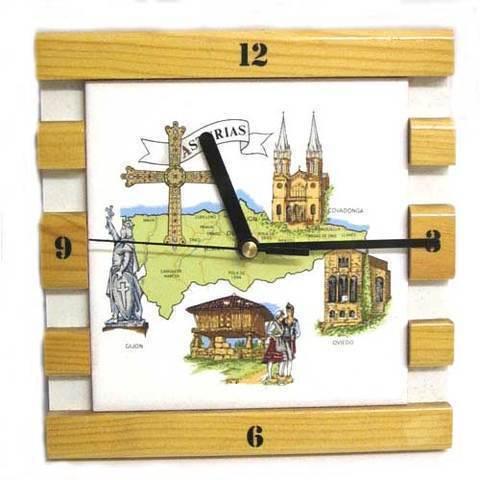 Artesania Asturiana - Reloj mapa de Asturias con motivos asturianos - Editorial Picu Urriellu