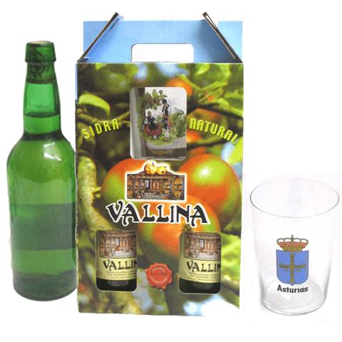 Artesania Asturiana - Estuches botellas de sidra y un vaso decorado  - Editorial Picu Urriellu