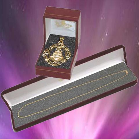 Artesania Asturiana - Medalla orla Virgen de Covadonga con cadena oro - Editorial Picu Urriellu