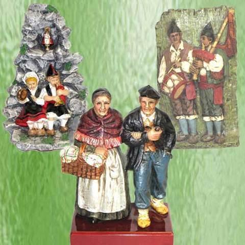 Artesania Asturiana - Abuelos tradicionales, Asturianos gruta y placa pareja gaiteros - Editorial Picu Urriellu