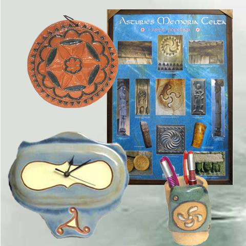 Artesania Asturiana - Cuadro memoria celta, Reloj, Portalapices y colgante motivos celtas - Editorial Picu Urriellu