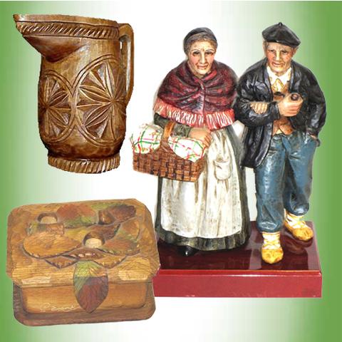 Artesania Asturiana - Abuelos asturinos, Jarra y joyero madera artesanal - Editorial Picu Urriellu