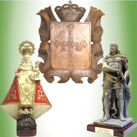 Artesania Asturiana - Escudo de Asturias, Don Pelayo y Virgen de Covadonga - Editorial Picu Urriellu