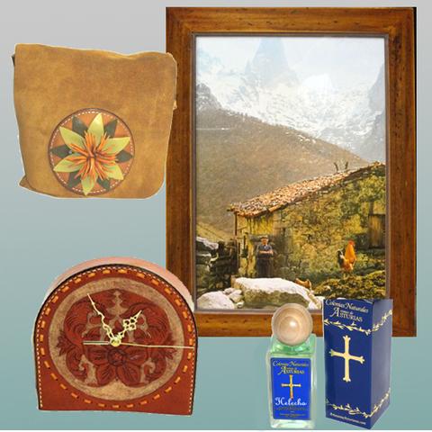 Artesania Asturiana - Cuadro fotoposter, Bolso serraje, Perfume y Reloj cuero - Editorial Picu Urriellu
