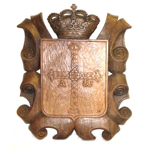 Artesania Asturiana - Escudo de Asturias silueta madera de castaño - Editorial Picu Urriellu
