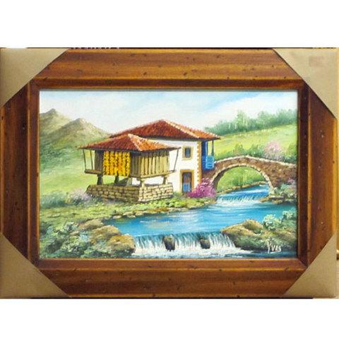 Artesania Asturiana - Paisaje asturiano - quintana y puente con rio - Editorial Picu Urriellu