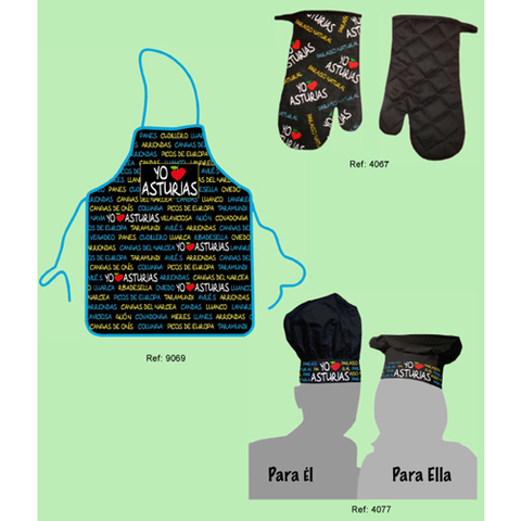 Artesania Asturiana - Delantal, manopla y gorro de cocina - Editorial Picu Urriellu
