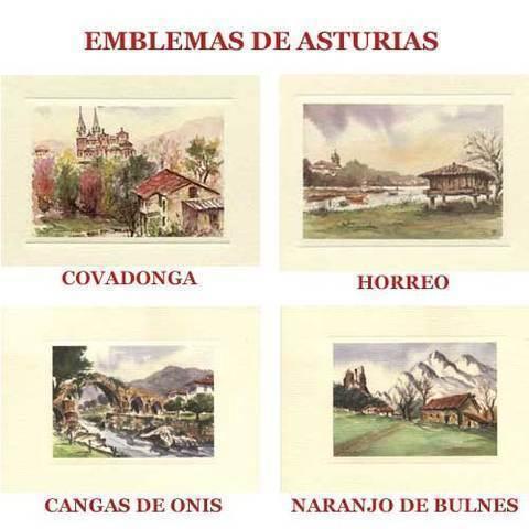 Artesania Asturiana - Acuarelas Emblemas de Asturias - Editorial Picu Urriellu