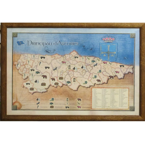 Artesania Asturiana - Cuadro Mapa concejos asturianos - historia - Editorial Picu Urriellu