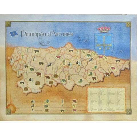 Artesania Asturiana - Poster Concejos asturianos - historia - Editorial Picu Urriellu