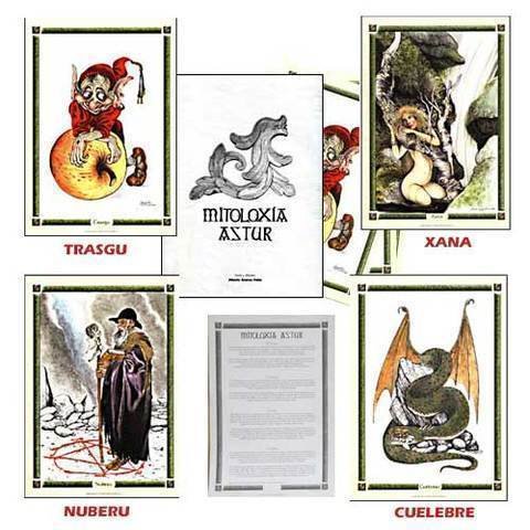 Artesania Asturiana - Carpeta y laminas mitologia asturiana - Editorial Picu Urriellu