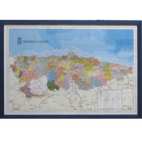 Artesania Asturiana - Mapa concejos ( marco azul ) - asturiano - Editorial Picu Urriellu