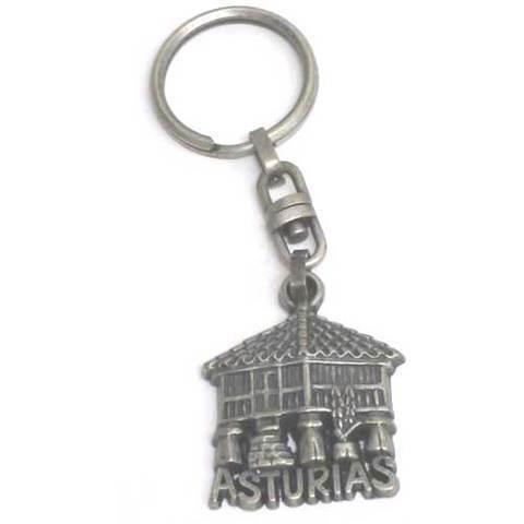 Artesania Asturiana - Llavero horreo plateado con Asturias - Editorial Picu Urriellu