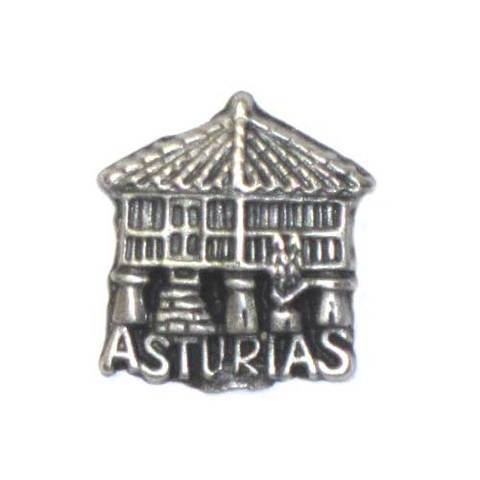 Artesania Asturiana - Pin Horreo con Asturias plateado - Editorial Picu Urriellu