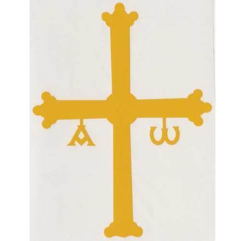 Artesania Asturiana - Pegatina Cruz de la Victoria amarilla mediana - Editorial Picu Urriellu