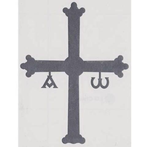 Artesania Asturiana - Pegatina Cruz de la Victoria gris oscuro mediana - Editorial Picu Urriellu