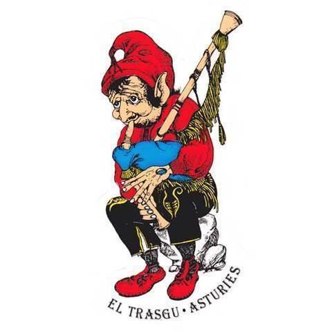 Artesania Asturiana - Pegatina Trasgu tocando la gaita - Editorial Picu Urriellu