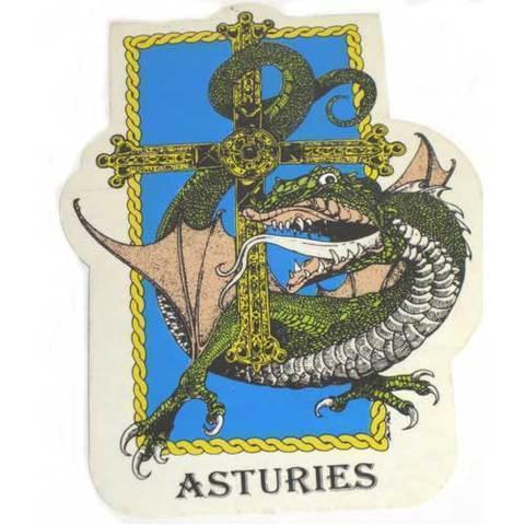 Artesania Asturiana - Pegatina Cuelebre cruz victoria con asturies - Editorial Picu Urriellu