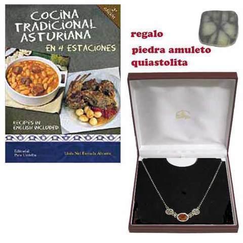 Artesania Asturiana - Gargantilla quiastolita plata + libro cocina asturiana - Editorial Picu Urriellu