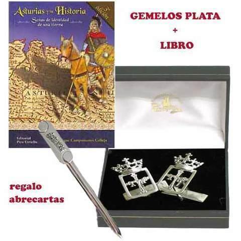 Artesania Asturiana - Gemelos escudo de Asturias plata + Libro Asturias y su historia - Editorial Picu Urriellu