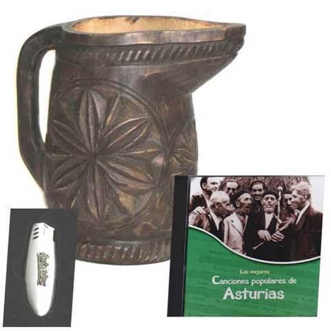 Artesania Asturiana - Jarra tallada  + CD Las mejores canciones populares de Asturias - Editorial Picu Urriellu