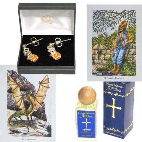 Artesania Asturiana - Pendientes plata ositos + Perfume infantil aromas de Asturias - Editorial Picu Urriellu