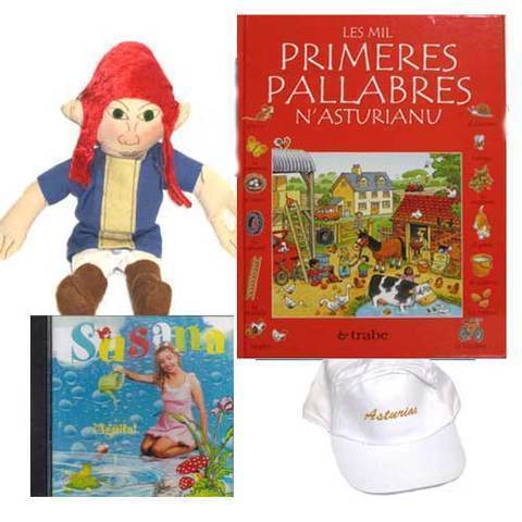 Artesania Asturiana - Les mil primeres pallabres n´asturianu + CD Susana + Trasgu peluche - Editorial Picu Urriellu