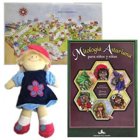 Artesania Asturiana - Libro mitologia asturiana + peluche muñeca - Editorial Picu Urriellu