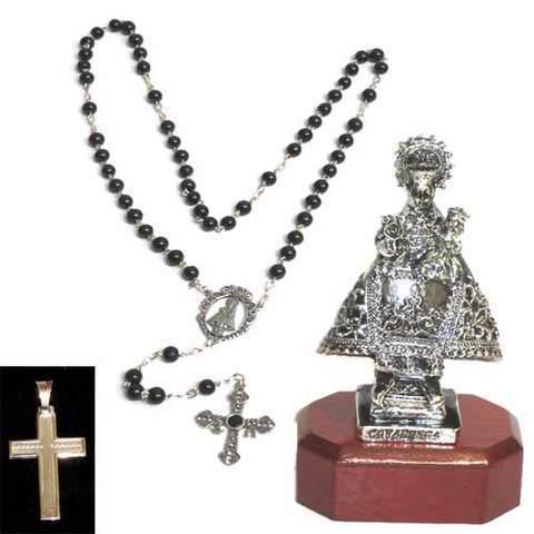 Artesania Asturiana - Virgen de Covadonga baño plata + Rosario 5 misterios azabache y plata - Editorial Picu Urriellu