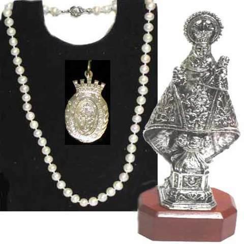 Artesania Asturiana - Virgen de Covadonga baño de plata + Collar de perlas naturales - Editorial Picu Urriellu
