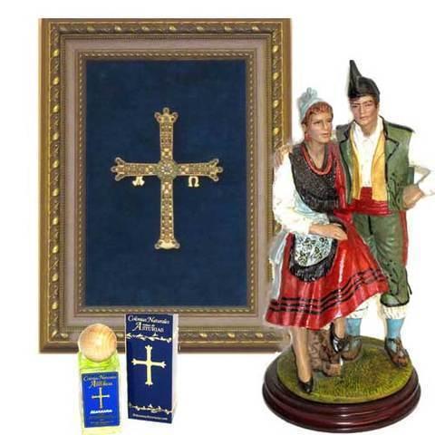 Artesania Asturiana - Cuadro cruz de la victoria + pareja asturianos - Editorial Picu Urriellu