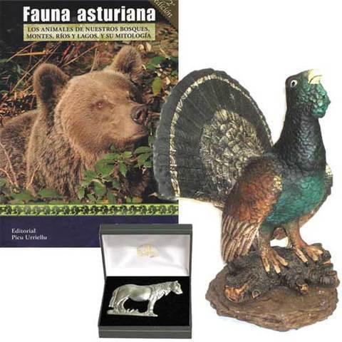 Artesania Asturiana - Figura Urogallo + Libro Fauna asturiana - Editorial Picu Urriellu
